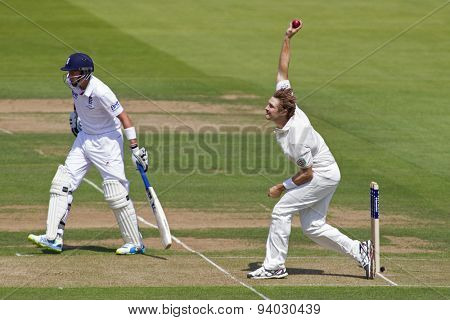 LONDON, ENGLAND - July 18 2013: Joe Root and Shane Watson on day one of the Investec Ashes 2nd test match, at Lords Cricket Ground on July 18, 2013 in London, England.