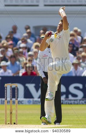 NOTTINGHAM, ENGLAND - July 13, 2013: Australia's James Pattinson bowling during day four of the first Investec Ashes Test match at Trent Bridge Cricket Ground on July 13, 2013 in Nottingham, England.