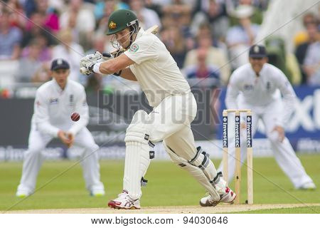 NOTTINGHAM, ENGLAND - July 10, 2013: Australia's Shane Watson during day one of the first Investec Ashes Test match at Trent Bridge Cricket Ground on July 10, 2013 in Nottingham, England.