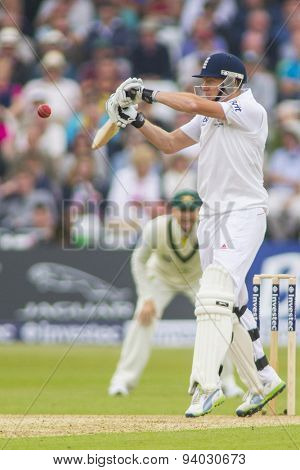 NOTTINGHAM, ENGLAND - July 10, 2013:  England's Jonny Bairstow during day one of the first Investec Ashes Test match at Trent Bridge Cricket Ground on July 10, 2013 in Nottingham, England.