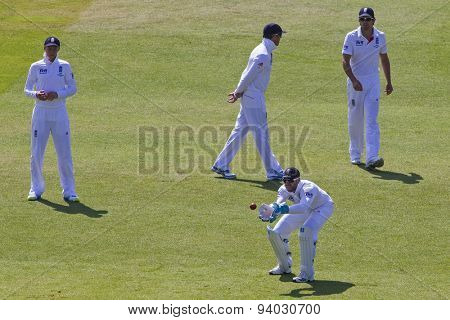 NOTTINGHAM, ENGLAND - July 11, 2013: England's Matt Prior catches the ball during day two of the first Investec Ashes Test match at Trent Bridge Cricket Ground on July 11, 2013 in Nottingham, England.