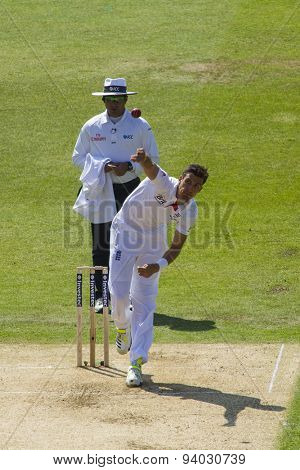 NOTTINGHAM, ENGLAND - July 11, 2013: Steven Finn bowling during day two of the first Investec Ashes Test match at Trent Bridge Cricket Ground on July 11, 2013 in Nottingham, England.
