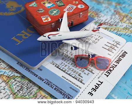 Travel Or Tourism Concept. Passport, Airplane, Airtickets And Suitcase On The Map.