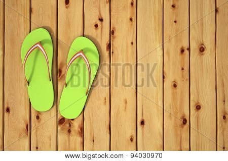 Flip Flop Sandals On Wood Board. Beach Concept.