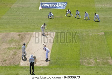 NOTTINGHAM, ENGLAND - July 11, 2013: James Anderson bowls Brad Haddin during day two of the first Investec Ashes Test match at Trent Bridge Cricket Ground on July 11, 2013 in Nottingham, England.