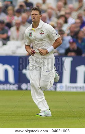 NOTTINGHAM, ENGLAND - July 10, 2013: Australia's James Pattinson bowling during day one of the first Investec Ashes Test match at Trent Bridge Cricket Ground on July 10, 2013 in Nottingham, England.