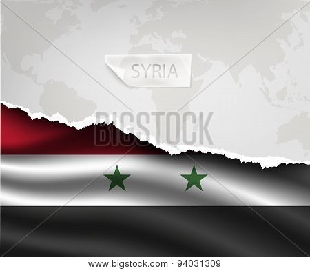 Paper With Hole And Shadows Syria Flag