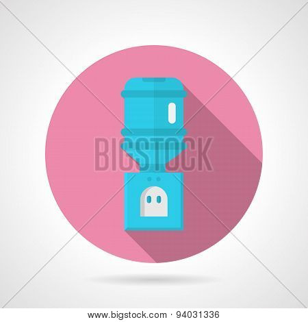 Blue water cooler flat round vector icon