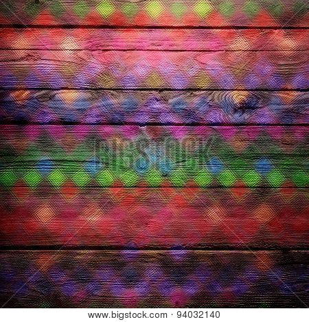Colorful geometric stain glass wood background