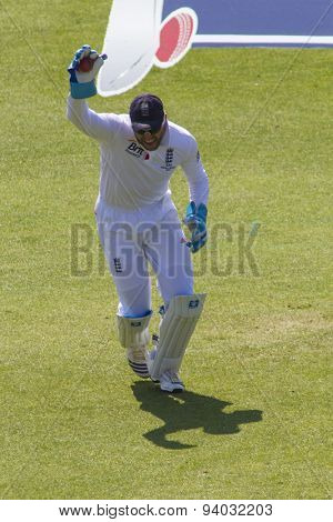NOTTINGHAM, ENGLAND - July 11, 2013: England's Matt Prior celebrates the wicket of Steven Smith during day two of the first Investec Ashes Test match at Trent Bridge Cricket Ground