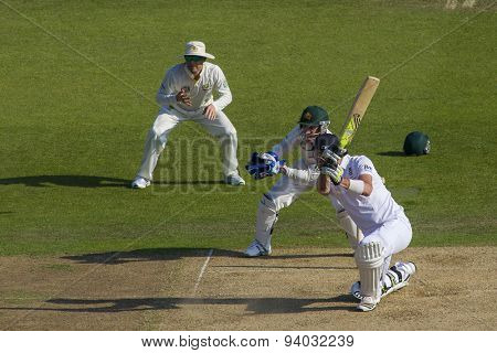 NOTTINGHAM, ENGLAND - July 11, 2013: Michael Clarke and Brad Haddin watch on as Kevin Pietersen hits four runs during day two of the first Investec Ashes Test match at Trent Bridge Cricket Ground