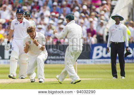 NOTTINGHAM, ENGLAND - July 12, 2013: Shane Watson appeals for the wicket of Ian Bell which was turned down on review during day three of the first Ashes Test match at Trent Bridge Cricket Ground