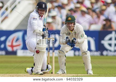 NOTTINGHAM, ENGLAND - July 12, 2013: England's Stuart Broad is struck on the pad during day three of the first Investec Ashes Test match at Trent Bridge Cricket Ground on July 12, 2013
