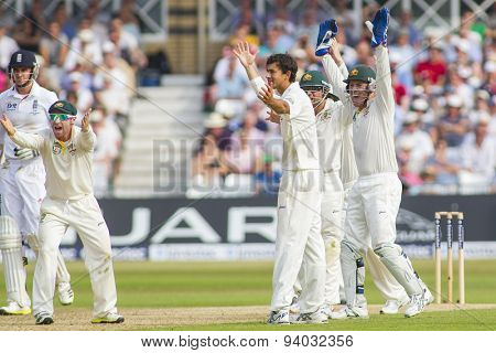 NOTTINGHAM, ENGLAND - July 12, 2013: Phillip Hughes, Ashton Agar, Ed Cowan and Brad Haddin appeal for the wicket of Stuart Broad during the first Ashes Test match at Trent Bridge Cricket Ground