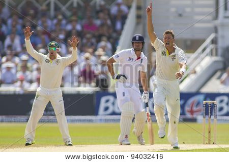 NOTTINGHAM, ENGLAND - July 12, 2013: Australia's James Pattinson makes an unsuccessful appeal for a wicket during day three of the first Investec Ashes Test match at Trent Bridge Cricket Ground