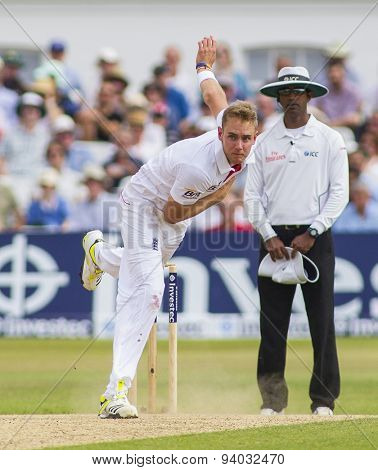 NOTTINGHAM, ENGLAND - July 13, 2013: Stuart Broad bowling during day four of the first Investec Ashes Test match at Trent Bridge Cricket Ground on July 13, 2013 in Nottingham, England.