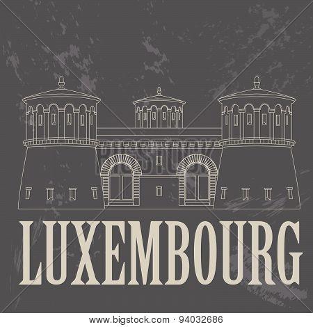 Luxembourg landmarks. Retro styled image