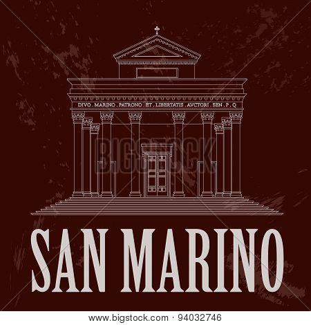 San Marino landmarks. Retro styled image
