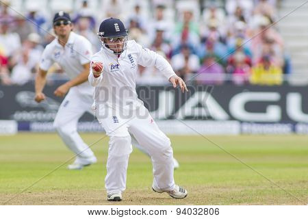 NOTTINGHAM, ENGLAND - July 13, 2013: England's Ian Bell catches the ball during day four of the first Investec Ashes Test match at Trent Bridge Cricket Ground on July 13, 2013 in Nottingham, England.