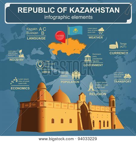 Kazakhstan  infographics, statistical data, sights