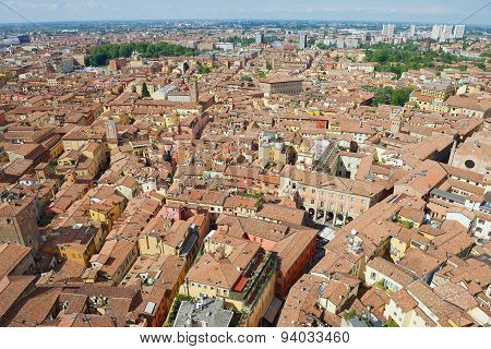 View from the top of Asinelli tower to Bologna, Italy.