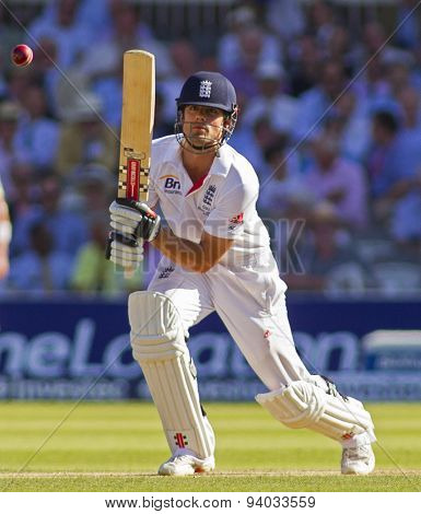 LONDON, ENGLAND - July 19 2013: Alastair Cook batting during day two of the Investec Ashes 2nd test match, at Lords Cricket Ground on July 19, 2013 in London, England.