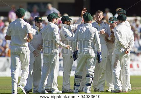 LONDON, ENGLAND - July 19 2013:  Australia celebrates the wicket of Alastair Cook day two of the Investec Ashes 2nd test match, at Lords Cricket Ground on July 19, 2013 in London, England.