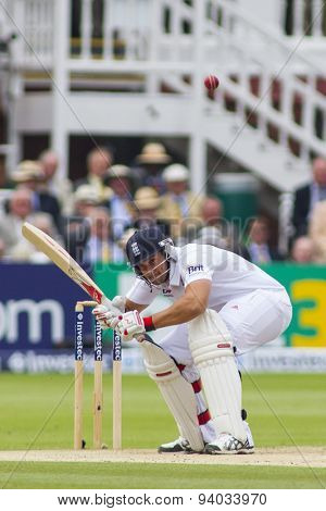 LONDON, ENGLAND - July 20 2013: Tim Bresnan ducks a bouncer during day three of the Investec Ashes 2nd test match, at Lords Cricket Ground on July 20, 2013 in London, England.