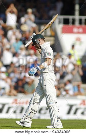 MANCHESTER, ENGLAND - August 01 2013: Michael Clarke celebrates scoring a century during day one of  the Investec Ashes 3rd test match at Old Trafford Cricket Ground