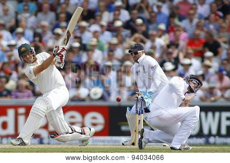 MANCHESTER, ENGLAND - August 02 2013: Peter Siddle is bowled out during day two of  the Investec Ashes 3rd test match at Old Trafford Cricket Ground, on August 02, 2013 in London, England.