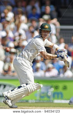 MANCHESTER, ENGLAND - August 02 2013: Brad Haddin batting during day two of  the Investec Ashes 3rd test match at Old Trafford Cricket Ground, on August 02, 2013 in London, England.