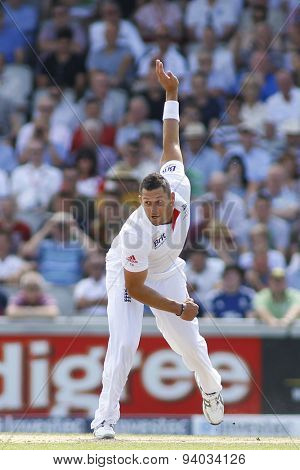 MANCHESTER, ENGLAND - August 02 2013: Tim Bresnan bowling during day two of  the Investec Ashes 3rd test match at Old Trafford Cricket Ground, on August 02, 2013 in London, England.