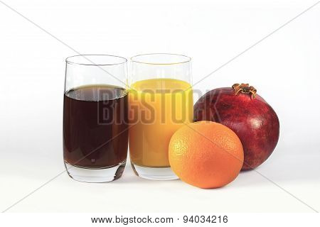 The Pomegranate, The Orange, Glass Of Pomegranate Juice, Glass O