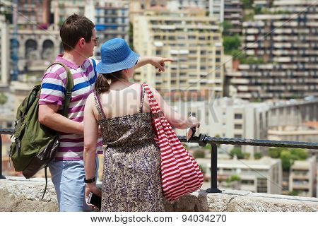 Couple enjoys the view from the viewpoint in Monaco.