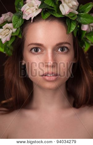 studio portrait of beauty woman with circlet
