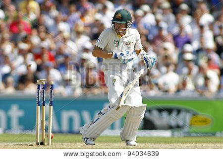 MANCHESTER, ENGLAND - August 02 2013: Michael Clarke is bowled out by Stuart Broad (not pictured) during day two of  the Investec Ashes 3rd test match at Old Trafford Cricket Ground
