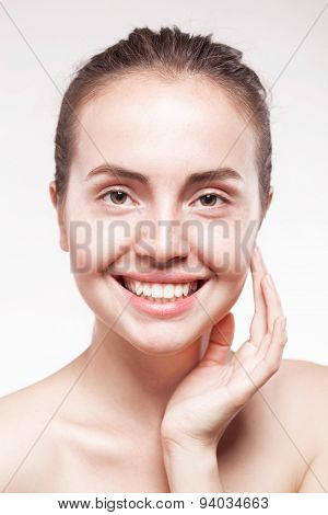portrait of beautiful young happy smiling woman