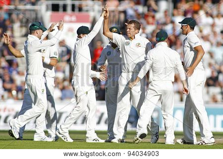MANCHESTER, ENGLAND - August 02 2013: Peter Siddle celebrates taking the wicket of Tim Bresnan during day two of  the Investec Ashes 3rd test match at Old Trafford Cricket Ground