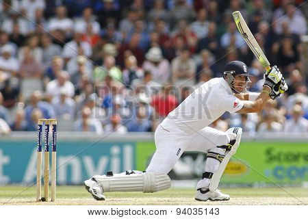MANCHESTER, ENGLAND - August 03 2013: Kevin Pietersen batting during day three of  the Investec Ashes 3rd test match at Old Trafford Cricket Ground, on August 03, 2013 in London, England.
