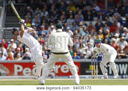 MANCHESTER, ENGLAND - August 03 2013: Kevin Pietersen hits the ball for six runs during day three of  the Investec Ashes 3rd test match at Old Trafford Cricket Ground, on August 03, 2013