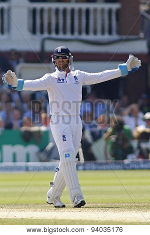LONDON, ENGLAND - July 21 2013: Matt Prior makes an unsuccessful appeal for the wicket of Usman Khawaja during day four of the Investec Ashes 2nd test match, at Lords Cricket Ground