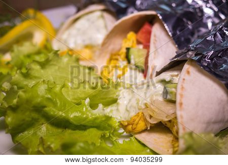 Kebab - Grilled Vegetables With Curry Chicken