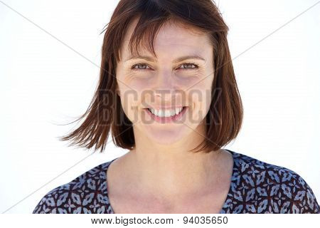 Smiling Older Woman On Isolated White Background