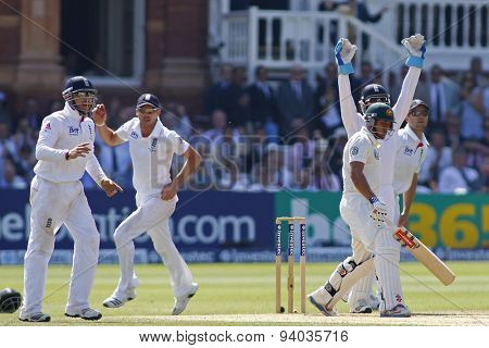 LONDON, ENGLAND - July 21 2013: Ian Bell, James Anderson, Matt Prior and Jonathan Trott make an unsuccessful appeal for the wicket of Usman Khawaja during day four of the Investec Ashes 2nd test match