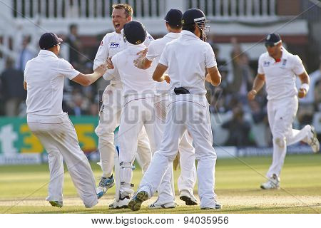 LONDON, ENGLAND - July 21 2013: Graeme Swann celebrates taking the wicket of James Pattinson and winning the test match during day four of the Investec Ashes 2nd test match, at Lords Cricket Ground
