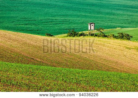 Rural Europe background - Moravian rolling landscape with hunting tower shack on sunset. Moravia, Czech Republic