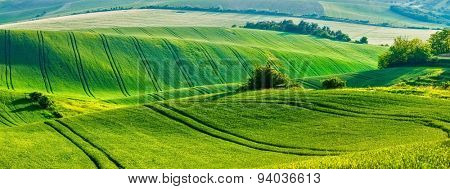 European rural wallpaper - panorama of Moravian rolling fields landscape, Moravia, Czech Republic