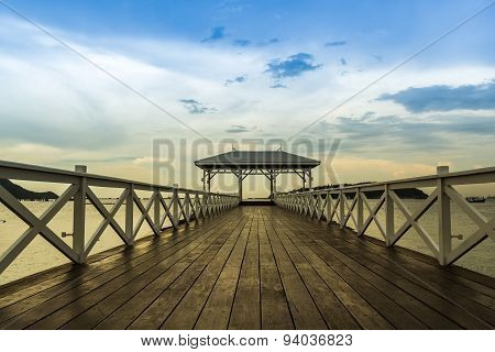 Atsadang Bridge Wooden Bridge In On Koh Sichang, Thailand