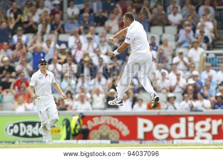 MANCHESTER, ENGLAND - August 01 2013: Tim Bresnan celebrates taking the wicket of Shane Watson during day one of  the Investec Ashes 3rd test match at Old Trafford Cricket Ground