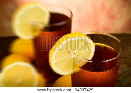 Fresh lemon tea - blurred style photo